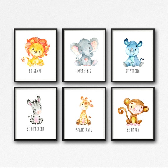 Safari Nursery Decor Jungle Theme Nursery Nursery Artwork: Animals Printable Nursery Art Jungle Animals Nursery Decor