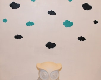 Set of turquoise and black clouds stickers