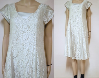 Floral Lace Dress Light Grey Mesh 90s Vintage Panelled Nineties Boho Grunge 1990s Size XS-S