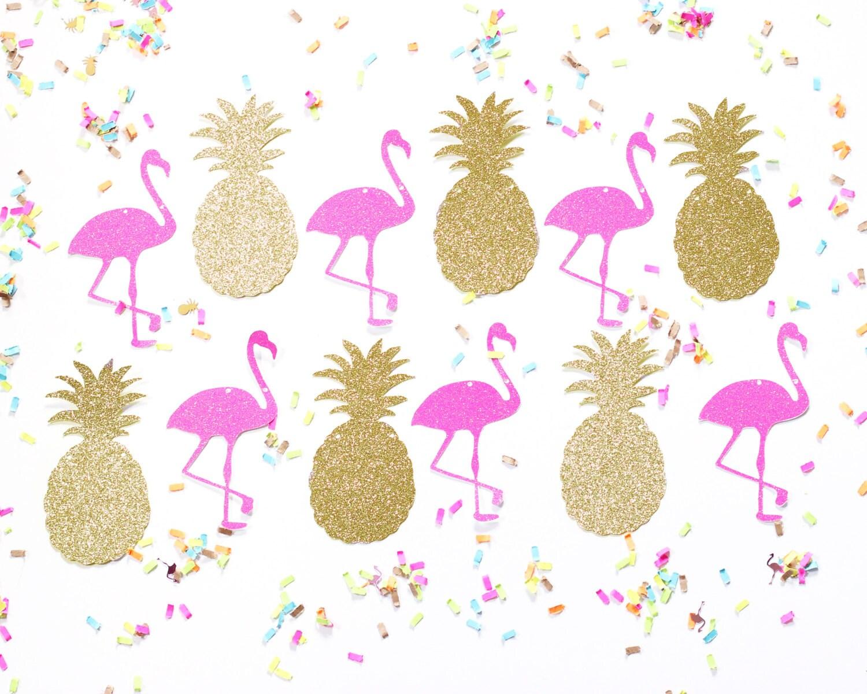 Flamingo Pineapple Glitter Banner Gold Hot Pink Garland