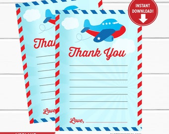 Airplane Fill in the blank Thank you Cards, Thank you notes, Airplane Party, Airplane Party Favors, Planes Card - Printable Design