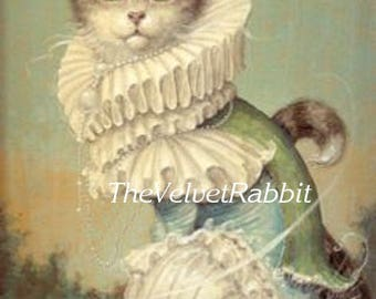 Cat,Cats,Kitten,Kittens*All dressed up*Victorian styling*Quilt, art fabric block