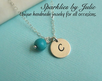 Simple Initial & Birthstone Necklace - Hand stamped ITALIC charm, custom gemstone birthstone, sterling silver, Mother or Bridal Party Gift