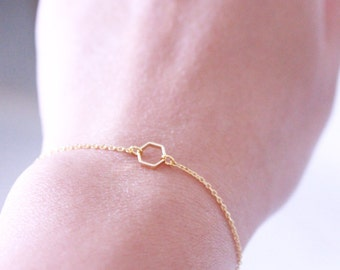 Hexagon bracelet - gold hexagon bracelet - Tiny hexagon bracelet
