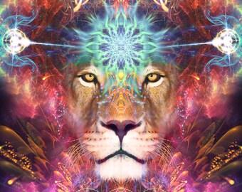 Sekhmet Art, Lion Visionary Art, Psychedelic Art, Fractal Art, Visionary Print, Psychedelic Print, Lion Art Painting, Huachuma, Ayahuasca