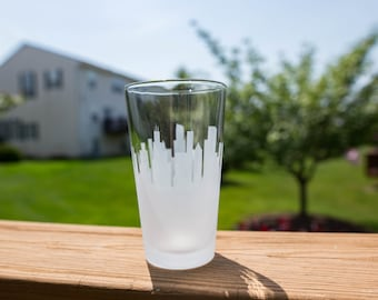 Custom Mix and Match Skyline Outline Silhouette Pint Glasses
