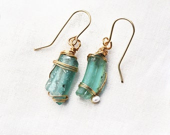Roman Glass Jewelry. Roman Glass Earrings. Gold Filled Roman Glass Aquamarine Earrings. Roman Glass Israel Roman Glass Jewelry Free Shipping