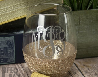 Monogram Wine Glass - Stemless Wine Glass - Glitter Wine Glass - Custom Wine Glass - Wine Gift - 21st Birthday Gift - Bridesmaid Gift