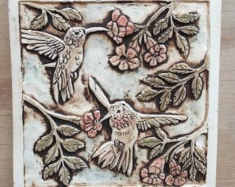 Hummingbirds with trumpet vine porcelain tile