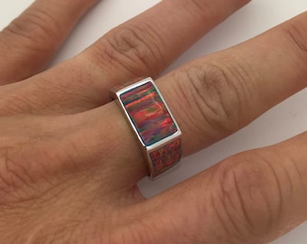 High Quality Fire Opal Inlay Solid 925 Sterling Silver Men's, Ring Size 9,10,11,13. Free ship in USA