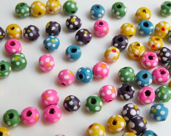 100 Bright Colorful Flowers round wood beads floral multicolored mixed pastel colors 5-6mm 8054NB
