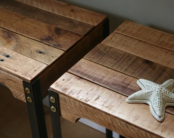 Rustic Industrial Reclaimed Wood Side Tables/Set of Two