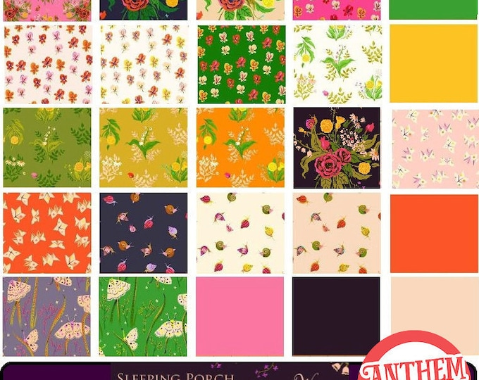 Sleeping Porch Heather Ross COTTON LAWN fabric bundle - wildflowers, pansies, moths, fortune teller, snails, bouquet fat quarters