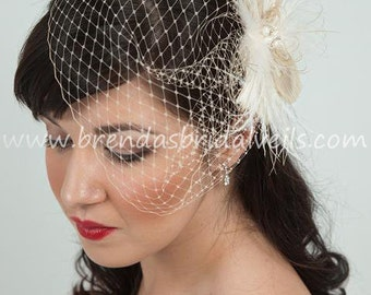 Bridal Veil with Feather Fascinator, Champagne Wedge Birdcage Veil with Champagne and Ivory Feather Fascinator Fresh Water Pearl Center