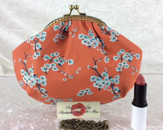 Handmade handbag purse clutch kiss clasp Alice frame bag Cherry Blossoms