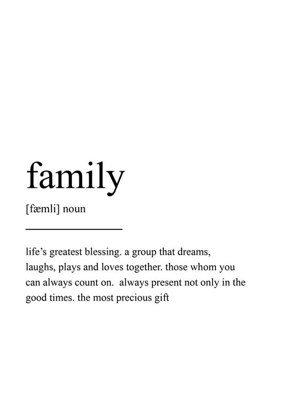 Family Quote Brilliant Family Definition Print Wall Art Print Quote Print Wall
