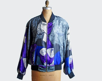 Vintage 80s 90s Silk Picasso Bomber Jacket