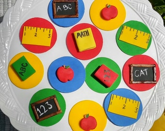 Back to School fondant cupcake toppers