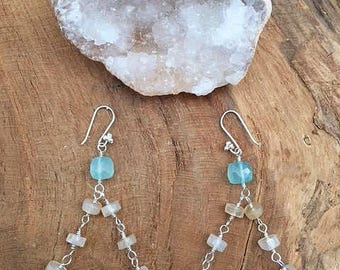 Kingman Turquoise Earrings | Oyster Bronze Matrix | Mystic Champagne Chalcedony | Blue Chalcedony | Chandelier Earrings