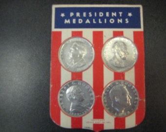 4 Metal United States Presidential Medallions, 1930s