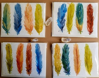 Set of 4 Feather Watercolor Cards