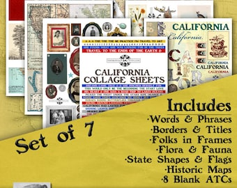 California Digital Collage Sheets, Vintage Image Printable, ATC, Instant Download, Americana