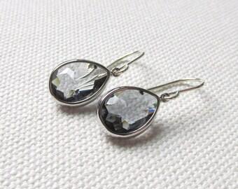 Gray Dangle Earrings Charcoal Bridesmaid's Earrings Minimal Modern Earrings, Bridal, Simple Elegant