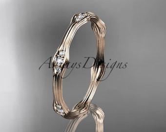 Rose gold engagement ring, 14k rose gold diamond vine wedding band, engagement ring ADLR21AB