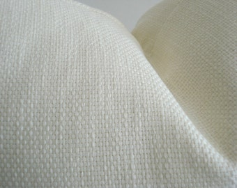 HIGH END Ivory BASKETWEAVE-Both Sides -Decorative  Designer Pillow Cover-  Solid Ivory Textured Basketweave Throw / Lumbar Pillow Cover