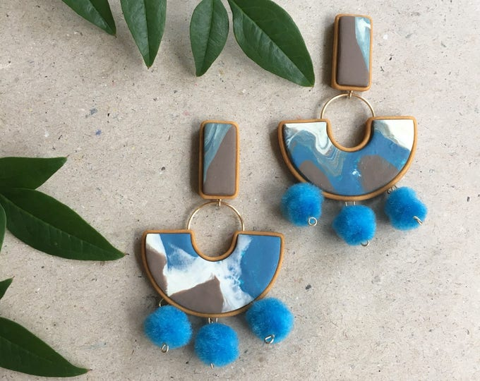 EXCLAMATION DROP STUD earrings// Geometric, marbled polymer clay, Blue, brown and white pompom earrings //Little Tusk statement drop stud
