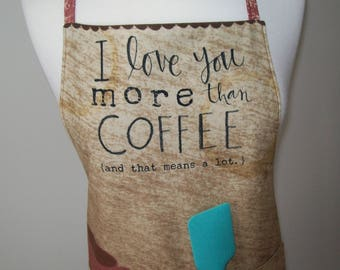 Coffee apron - reversible with pockets - brown rose pink turquoise - fully lined - coffee decor - adjustable - Valentine hostess shower gift