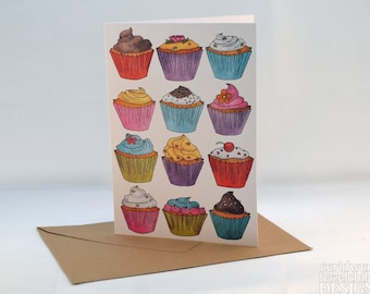 Cupcakes Greeting Card, Blank Card, Birthday Card, Thank You Card, Easter Card