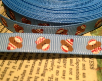 """3/8""""  SOCK MONKEY Blue and White Grosgrain Ribbon sold by the yard"""