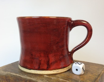 Red Ceramic 12 oz Mug // Hand Thrown Coffee Cup // Wheel Thrown Stein // Pint Pottery // Wide Base Tapered // Soup Cup