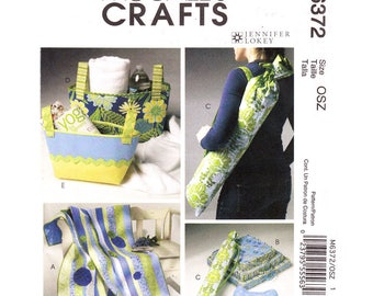 Yoga Accessories Pattern McCalls 6372 Quilt, Yoga Mat Carrier, Cushions, Fabric Baskets, Neck Roll Sewing Pattern UNCUT