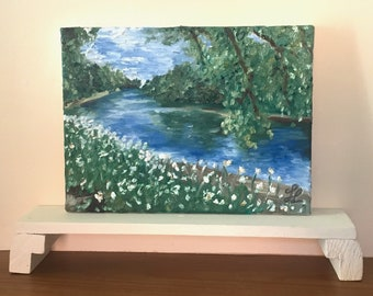Original landscape riverside oil painting on canvas, small canvas painting | Impressionist river waterscape painting