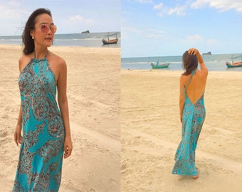 Aqua turquoise printed Halter open backless long maxi dress sun evening
