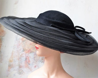 Wool-felt Hat by Marie Louise France, antique hat, Edwardian hat