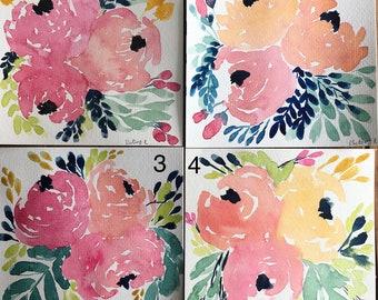 Spring Floral Mini Watercolor Paintings