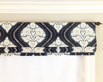 Faux (fake) flat roman shade valance. More colors available!  Custom Sizing. Dwell Studio Kavali Ogee Midnight.  Navy and Ivory.