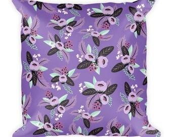 Violette Floral Print Square Pillow