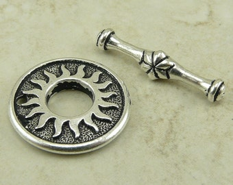1 TierraCast Del Sol Toggle Sun Toggle Clasp - Silver Plated LEAD FREE Pewter - I ship Internationally 6136