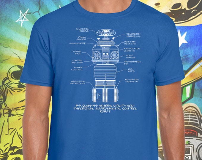 Lost in Space / Classic B-9 Robot / Men's Blue T-Shirt