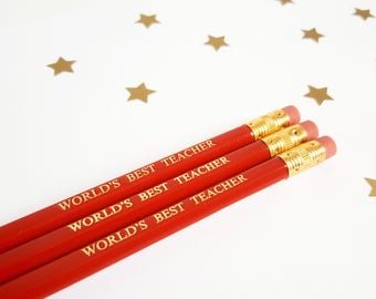 Quote pencils - Teacher pencils -  teacher gift - teacher appreciation - worlds best teacher - quirky stationery  school supplies