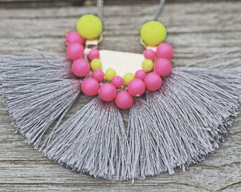 Grey Neon Tassel Necklace on Grey Gold Electroplated Chain Funky Summer Fun Swarovski Pearl