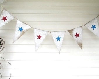 Stars Glittered Burlap Banner July 4th, independance day, veterans day, memorial day