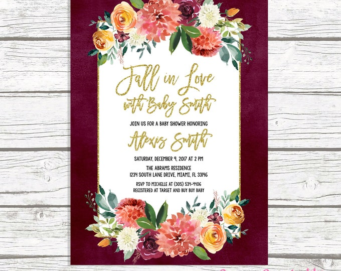 Falling in Love Baby Shower Invitation, Fall in Love Baby Shower Invitation, Gender Neutral Fall Baby Shower, Burgundy Marsala Baby Shower