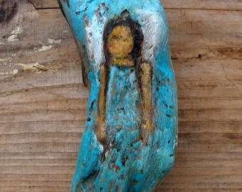 Original Angel Painting on driftwood ca. 7 x 2 inch Waldorf Art Angel Chakra Acrylic colors
