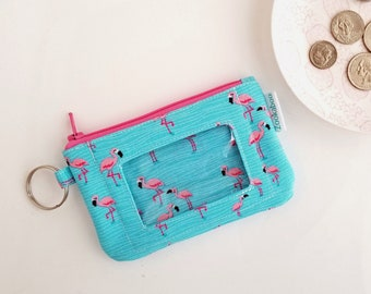 Keychain Wallet for Women - Flamingo Wallet - College Student Gift for Her - ID Card Holder