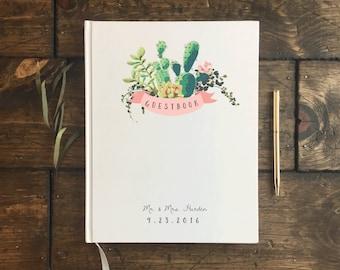 Cactus Wedding Guest Book. Custom Wedding Guestbook. Succulent cacti Wedding Decorations. Wedding Journal. Wedding Book. Custom Notebook